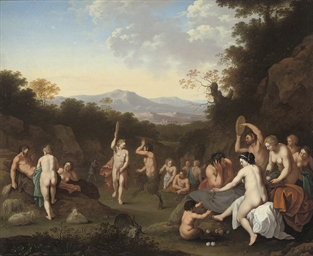 A bacchanal with nymphs and sa