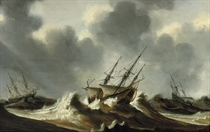 Dutch three-masters in stormy waters