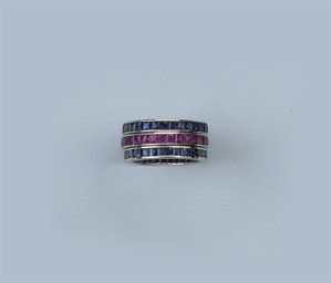 THREE GEM SET ETERNITY RINGS
