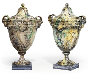 A PAIR OF FRENCH POTTERY TWO-H