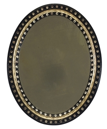 AN IRISH GLASS-MOUNTED EBONISE