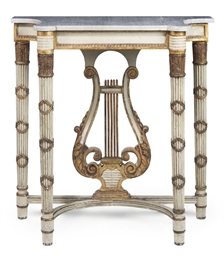 A FRENCH GILTWOOD AND GREY PAI