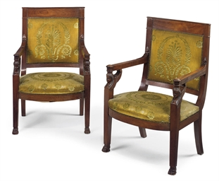A PAIR OF FRENCH MAHOGANY FAUT