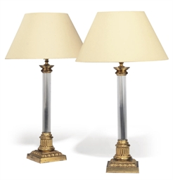 A PAIR OF GILT-BRONZE AND GLAS