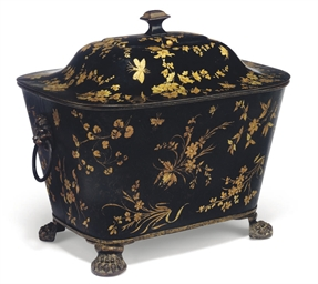 A REGENCY BLACK AND GILT-HEIGH