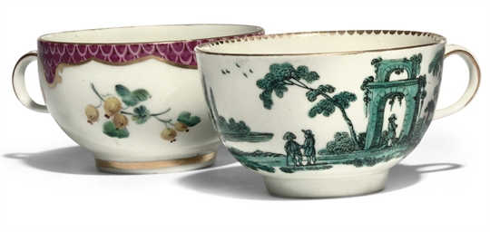 TWO WORCESTER TEACUPS