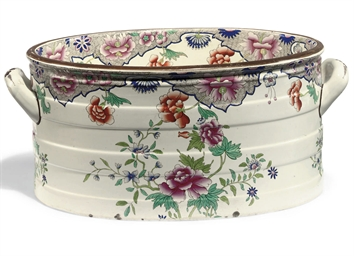 A SPODE PEARLWARE TWO-HANDLED