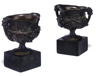 A PAIR OF BRONZE VASES