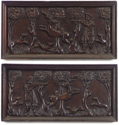 A PAIR OF FLEMISH CARVED OAK P
