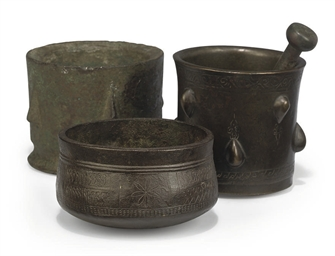 TWO PERSIAN BRONZE MORTARS