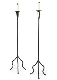 A PAIR OF WROUGHT-IRON STANDIN