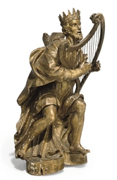 A GILTWOOD FIGURE OF SAINT DAV