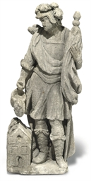 A FLEMISH STONE FIGURE OF SAIN