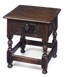 AN ENGLISH OAK BOX-STOOL