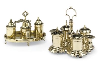 TWO SPANISH BRASS STANDISHES