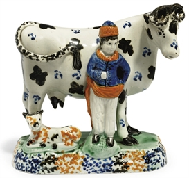 A PRATT WARE MODEL OF A COW, C