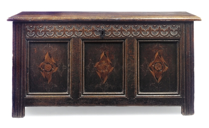 AN ENGLISH OAK AND INLAID CHES