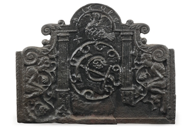A JAMES I CAST-IRON FIREBACK
