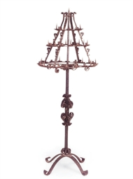 AN ENGLISH WROUGHT-IRON CANDLE