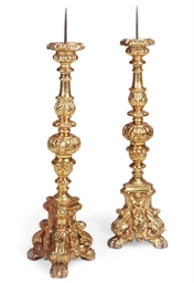 A PAIR OF GILTWOOD ALTAR STICK