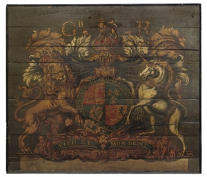 A GEORGE II PAINTED WOOD ROYAL
