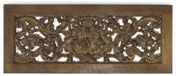 A FLEMISH PIERCED OAK PANEL