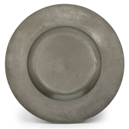 AN ENGLISH PEWTER BROAD-RIMMED