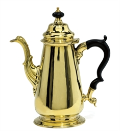 A LATE GEORGE II BRASS COFFEE