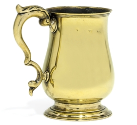 A LATE GEORGE II BRASS TANKARD