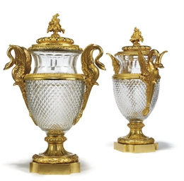A PAIR OF GILT-BRONZE AND CUT-