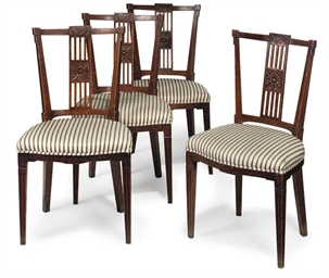 A SET OF FOUR DUTCH ELM DINING