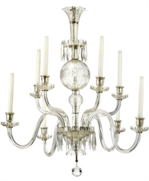 A TEN-LIGHT GLASS CHANDELIER