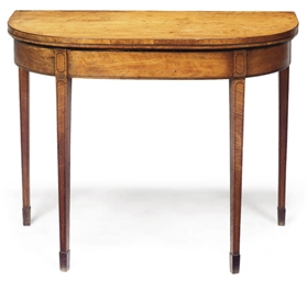 A GEORGE III SATINWOOD DEMI LU