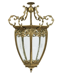 A GILT BRASS HEXAGONAL HALL LA