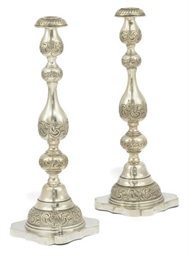 A PAIR OF SILVER SABBATH CANDL