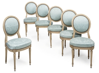 A SET OF SIX PAINTED FAUTEUIL'