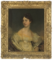 Portrait of a lady, half-length, in a white silk and lace dress with a gold necklace