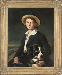 Portrait of a boy, seated half