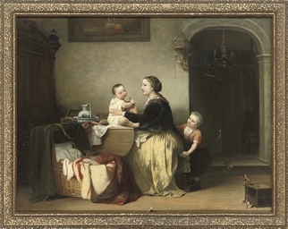 A mother and her children play