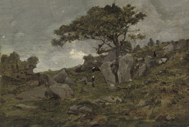 Herders on a rocky hillside