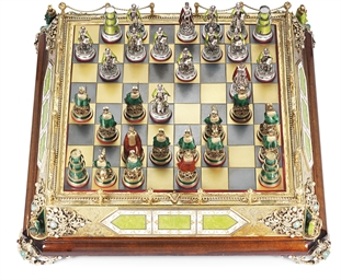 A SILVER-GUILT CHESS BOARD