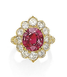 A RUBY AND DIAMOND RING, MOUNT