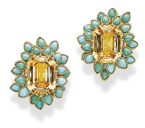 A PAIR OF CITRINE AND TURQUOIS