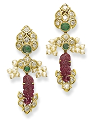 A PAIR OF RUBY, EMERALD AND DI
