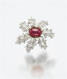 A RUBY AND DIAMOND BROOCH, MOU