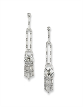 A PAIR OF EXQUISITE ART DECO DIAMOND EAR PENDANTS, BY JANESICH