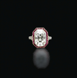 AN ART DECO DIAMOND AND RUBY R