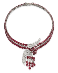 A SUPERB RUBY AND DIAMOND NECK
