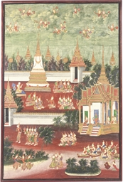 A SET OF SIX THAI PAINTED PANE