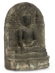 AN INDIAN BLACK STONE STELE OF